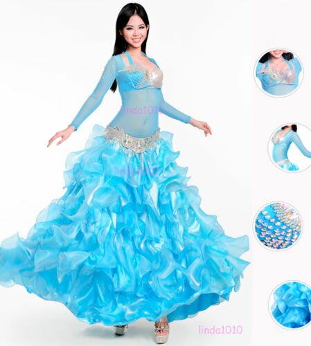 Luxury ベリーダンス 衣装 3 セット ブラ&ベルト&スカート 34B/C 36B/C 38B/C 3 カラー コスチューム ダンス 衣装 発表会