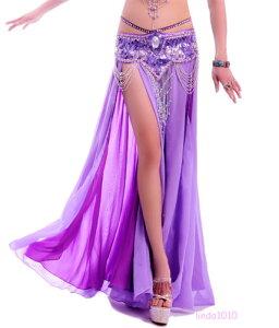NWT セクシー ベリーダンス 衣装 2 layers with slit シフォン スカート ドレス 13 カラー コスチューム ダンス 衣装 発表会