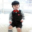 【キッズ/男の子】ストライプシャツのおしゃれベストスーツ 男の子スーツ...