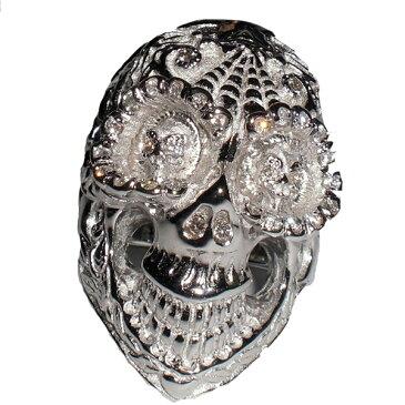 【全品ポイント5倍】【ビルウォールレザー Bill Wall Leather】BILL WALL DIA DE LOS MUERTOS GRAFFITI MASTER SKULL RING RHODIUM DIAMONDSシルバーリング 指輪