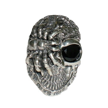 【ビルウォールレザー Bill Wall Leather】BILL WALL #1 99 R322 GRAFFITI MASTER SKULL RING LRG SPIDER BLACK ONYXシルバーリング 指輪