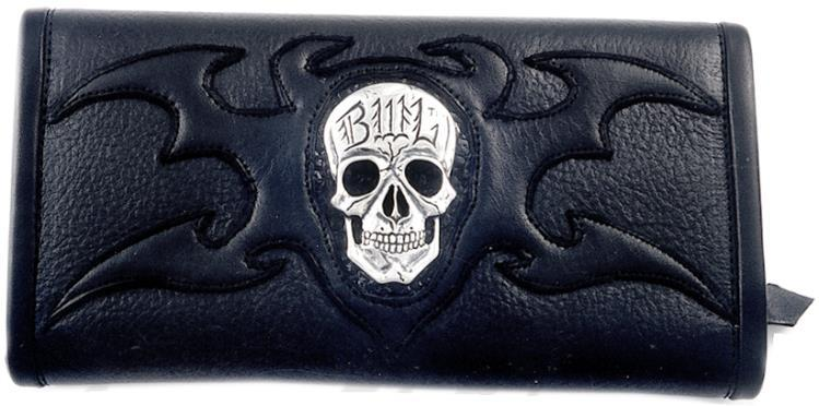 メンズジュエリー・アクセサリー, その他  BWL Bill Wall Leather Skull w Tribal Ltd. Bill Wall Fine Leather Hand Crafted Wallets