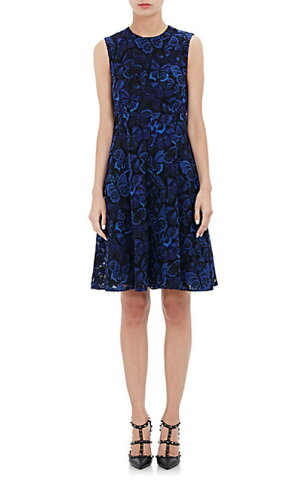 Valentino Butterfly Guipure Lace A-Line Dress