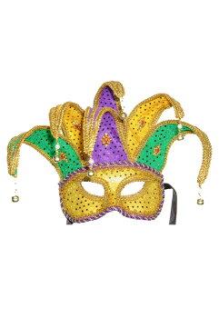 MardiGrasJesterMask(Purple/Green/Gold)/コスチューム/ハロウィン/コスプレ/衣装/仮装/面白い/ウィッグ/かつら/マスク/仮面
