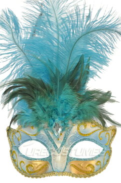 Child Piume ベネチアンマスク (Light Blue) コスチューム ハロウィン コスプレ 衣装 仮装 面白い ウィッグ かつら マスク 仮面 学園祭 文化祭 学祭 大学祭 高校 イベント