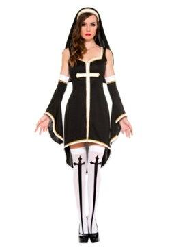 コスプレ ハロウィン SINFULLY HOT シスター 教会 キリスト教 大人用 女性用 衣装 ドレス ワンピース 衣装 学園祭 文化祭 コスチューム 仮装 変装