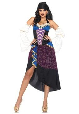 コスプレ ハロウィン TAROT CARD ジプシー 民族 大人用 レディス 女性用 衣装 ドレス ワンピース 衣装 学園祭 文化祭 コスチューム 仮装 変装