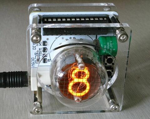 1桁ニキシー管 時計 日本語説明書付き QS30-1 USB 電源 ニキシー 小型 クロック 置時計 インテリア レトロ