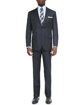 Check Two-Piece Suit, Navy Brown
