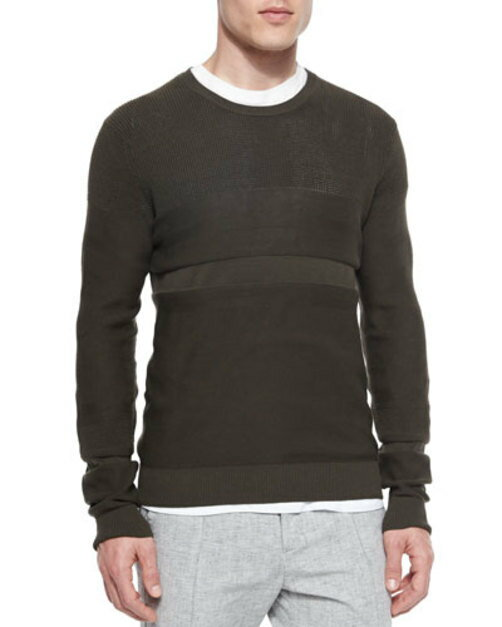 Multi-Stitch Crewneck Sweater, Green:Mars shop