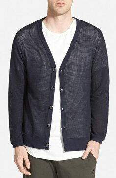 AZUL by moussy Standard Fit Mesh Jersey V-Neck Cardigan 男性 メンズ セーター ニット