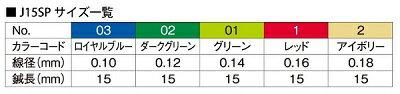 セイリンJ15SPタイプ_サイズ表