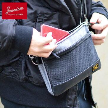 JEANISM EDWIN サコッシュ メンズ 秋冬 合皮 グレー ブラック ネイビー F エドウィン 鞄 サコッシュバッグ【q3】