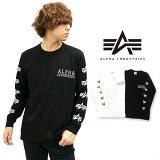 ALPHAINDUSTRIESTシャツメンズ秋ホワイト/ブラックM/L/XL