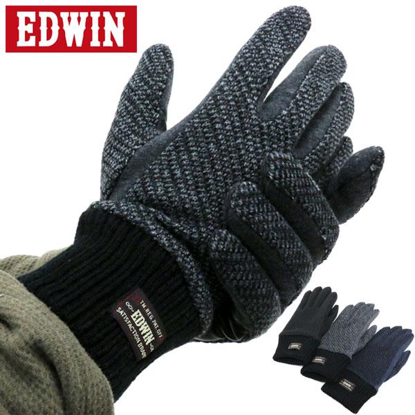 全品送料無料 EDWIN 手袋 メンズ 冬 ポリエステル グレー/ブラック/ネイビー