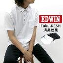 EDWIN ポロシャツ メンズ 夏 鹿の子 無地 ボタンダウン 半袖 ポケット 付き ホワイト/ブラック/ネイビー M/L/XL