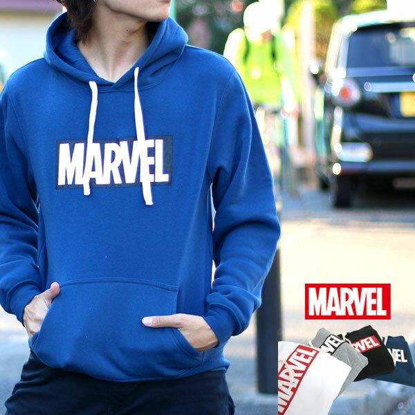 MARVEL パーカー メンズ 秋 裏起毛 ボックス ロゴ プリント ホワイト/グレー/ブラック/ネイビー M/L/LL<br><br>