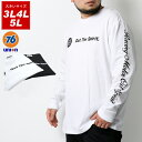 76Lubricants Tシャツ 大きいサイズ メンズ 秋 ユニオン プリント 長袖 ホワイト/ブラック 3L/4L/5L