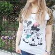 Disney ディズニー 豹柄 アニマル ラグラン袖Tシャツ 【ミッキー ミニー ペア プリント 長袖 Tシャツ】
