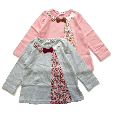 10%OFF SALE セール 丸高衣料 ミアリーメール チュニック tシャツ キッズ トップス 子供服 花柄 レース リボン 女の子 長袖 保育園 ロンt やわらか素材 カットソー ピンク グレー 90 100 110 120 130 Mialy Mail mialymail 柔らかい 2018秋冬