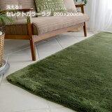 ラグ 洗える ラグマット カーペット おしゃれ 北欧 モダン 絨毯 夏用 冬用 床暖房 ホットカーペット 対応 グレー グリーン など 約 200×200 cm 2畳