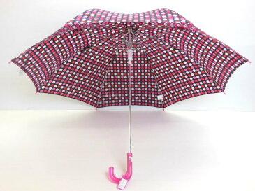 大きめサイズの子供用水玉柄ジャンプ傘!キッズ傘ワンタッチ式55cm【ブラック】