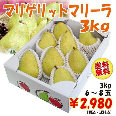 さっぱりとした甘みがクセになる大玉洋梨♪【送料無料】洋梨マリゲリット・マリーラ3kg(6-8玉)