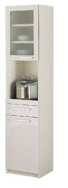 パモウナ食器棚YC【幅40.4×高さ180cm】YC-S400Rプレーンホワイト