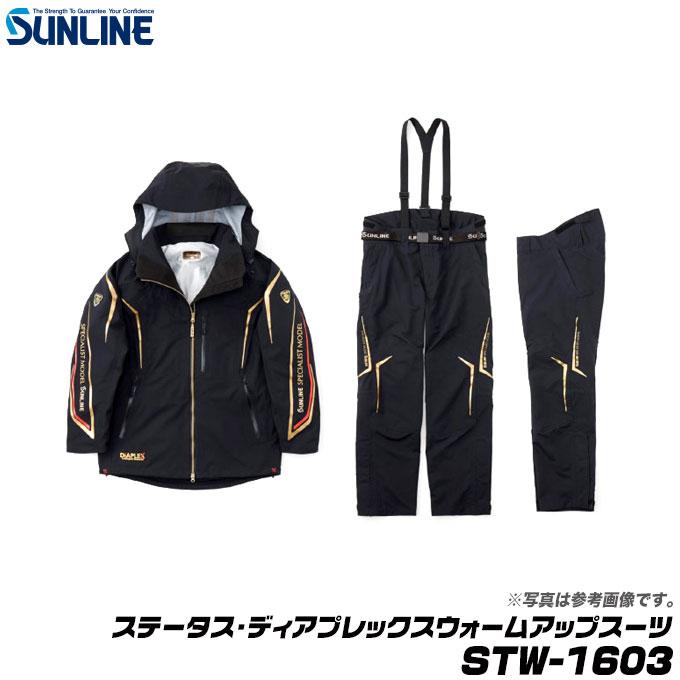 (5) サンライン ステータス・ディアプレックスウォームアップスーツ STW-1603 (カラー:ブラック)(サイズ:LL) /防寒着/上下セット /釣り/ウィンターウェア/SUNLINE/1s6a1l7e-wear:つり具のマルニシ