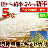2017年秋・神戸の清水さんの新米!【精米】兵庫県産キヌヒカリ5kgお寿司や和食との相性が非常によく合います♪