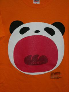 パンダTシャツ/オレンジ レディス/メンズ/半そでTシャツ/パンダ