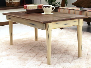 「Daisyデイジー」フレンチカントリー木製センターテーブル幅80cm木製折りたたみローテーブル折れ脚折り畳み折畳み可能白家具ホワイトシャビーシックアンティークブロカント北欧レトロヴィンテージ【送料無料】