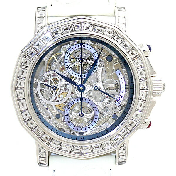 世界1本限定 セイコー SEIKO クレドール K18WG ダイヤ スケルトン パワーリザーブ クロノ 2002年FIFAワールドカップ 手巻き メンズ腕時計