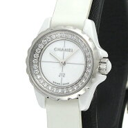 シャネル CHANEL H4664 J12 XS ホワイトセラミック エナメルレザー クォーツ ダイヤ レディース腕時計 保証書