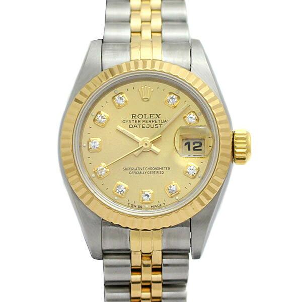 ロレックスROLEXデイトジャスト69173Gシャンパン文字盤レディース腕時計10PダイヤYG/SS自動巻W番