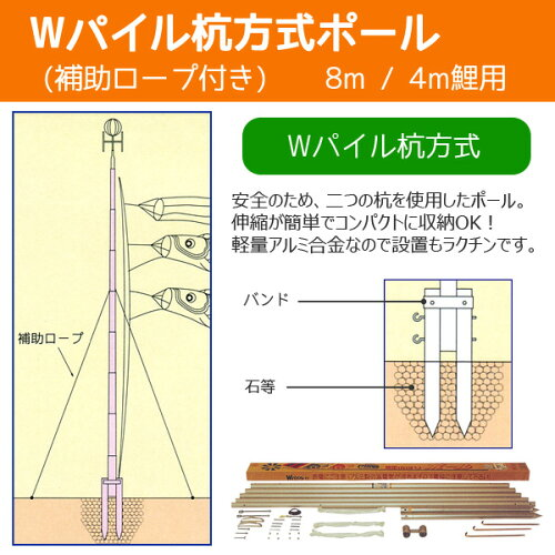 庭園用こいのぼり用ポール Wパイル杭方式ポール8号(7.2m)