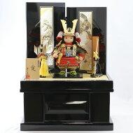 五月人形幸一光子供大将飾り幸一光作愛(いと)彫金屏風黒塗り収納飾りGOKI-ITO-NO-28コンパクトおしゃれ子供大将飾り武者人形子供大将飾り五月人形