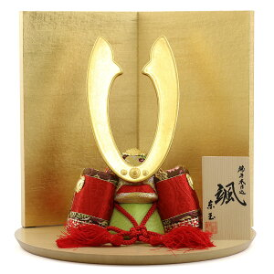 May doll Higashidama wood grain with helmet helmet decoration red Gold foil stamped two-fold folding wooden half-circle floor board decoration GOTG-NO13-32066 Compact fashionable wood grain May dolls Boys' Festival