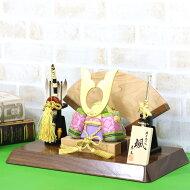五月人形東玉木目込み兜飾り颯シリーズ「緑」高級木材使用扇型屏風飾り台セット≪GOTG-NO14-W13≫コンパクトおしゃれ木目込み五月人形