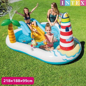 プール フィッシングファンプレイセンター 218×188×99cm 対象年齢:3歳以上 SWM-PL-57162INTEX (インテックス) すべり台 滑り台 大型 家庭用プール 子供用 大人用