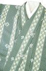 【送料無料】プレタ着物 小紋 絹100% 正絹 仕立て上がり (木賊色地にたて縞・市松模様) Lサイズ 在庫処分【RCP】