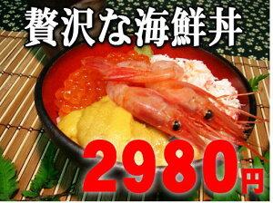 ご飯にのせるだけで贅沢な海鮮丼ができます。海の王者勢ぞろい!えび・いくら・かに・うに♪豪...