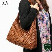 【送料無料】【AL'X】アレックス:スモールフラワー花形に切込んだ味わい深い牛革セミショルダー/本革レディースレザー