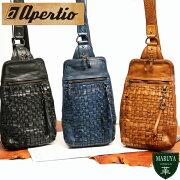 【送料無料】apertioアペルティオ:レザージャケットをイメージ。革らしさをガツンと感じる表情豊かなオイルレザーボディバッグ/革レザー本革送料無料ウォッシュ加工メンズ