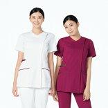 981レディススクラブジャケット半袖女子ジャケット診察着医療介護白レディース診察着薬局衣