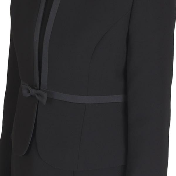 ブラックフォーマルノーカラーサテンラインアンサンブル[礼服 喪服 レディース セレモニー ミセス 30代 40代 卒業式] 大きいサイズ スーツ ママ 母 黒 直売][5号〜19号]MK-0010