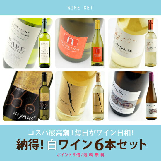 """5倍 酒宝庫MASHIMO""""世界まる呑み""""納得白ワイン6本セット"""