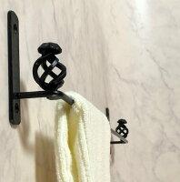 アイアン職人のハンドメイド・タオル掛け・洗面所・キッチンなどに美しいデザイン上品なアンティークカラーゴールドH25cmW17.5cmD6cm