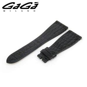 ガガミラノ GaGa Milano ユニセックス ブラック 48MM クロコベルト 48ミリ 専用 クロコダイル ベルト 【お買上げ11