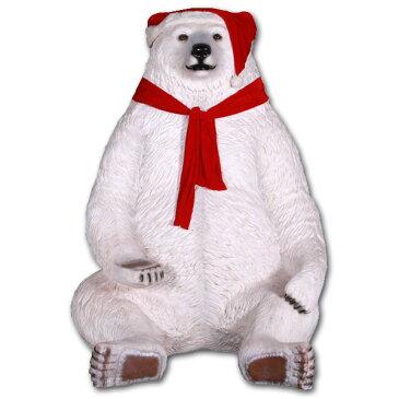 巨大な白クマのサンタ / Sitting Christmas Bear - Jumbo強化プラスチック製アート(オブジェ)